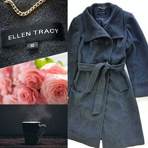 ☆ELLEN TRACY Gray Wool Pea Coat Size: 10